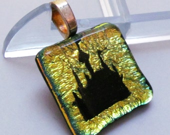 Disney Princess Castle Necklace Pendant - Gold Castle Dichroic Fused Glass Jewelry - Great Gift - Free Shipping