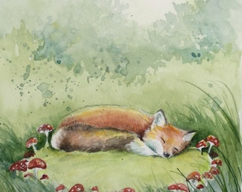 Red Fox sleeping in a forest clearing with toadstools original painting