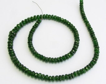CIJ SALE Rare Vibrant Deep Emerald Green Chrome Diopside Faceted Rondelle Gemstone Beads Graduated from 4.8mm to 7mm (8 inch strand of gems)