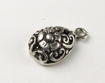 CIJ SALE Filigree Teardrop Bali Sterling Silver Charm Pendant with Flower Design (1 piece)