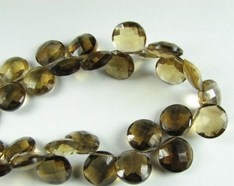 FLASH SALE Top Drilled Faceted Coin Beer Whiskey Quartz Briolettes 10mm - 11mm (4 beads)