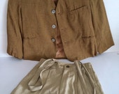 1950's Toddler Suit Jacket Suspender Pant and Coordinating Bow Tie Easter Clothing Family Photo Gold