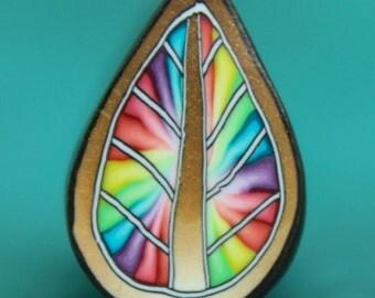 Rainbow Tie-Dye Colorburst Polymer Clay Leaf Cane -'Mystical Meadow' (12E)