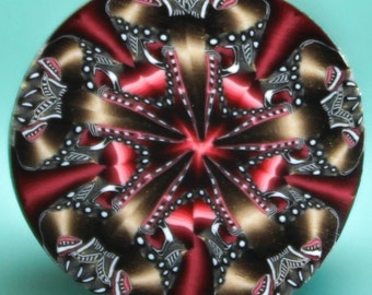 Small Polymer Clay Kaleidoscope Cane -'Drama Queen' (46C)