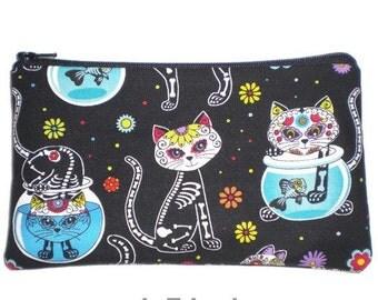 Mexican Art Makeup Bag Zipper Pouch Gadget Bag Clutch Day of the Dead Sugar Skull Cats
