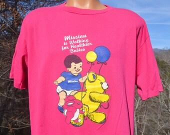 vintage 80s tee shirt MISSION hopsital walking babies health wellness hot pink t-shirt XXL xl asheville wnc wtf