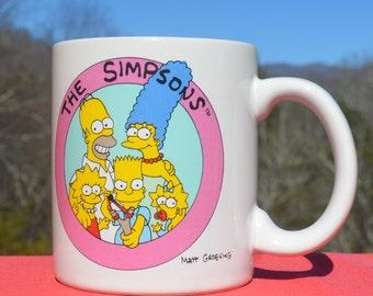 1990 vintage mug THE SIMPSONS coffee cup matt groening 90s tv show bart