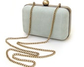 Mint box clutch, handmade suede leather purse, leather minaudière, handbag with chain, something blue
