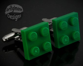 Cufflinks Green - made with LEGO bricks