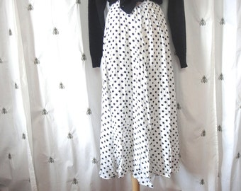 Vintage White and Black Polka Dot Maxi Skirt with Pockets, from The Limited, Size Small