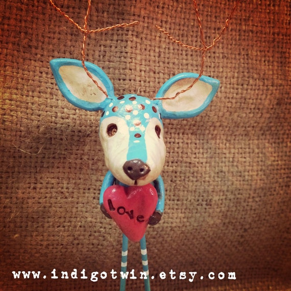 OOAK woodland blue deer in love sculpture Ready to Ship
