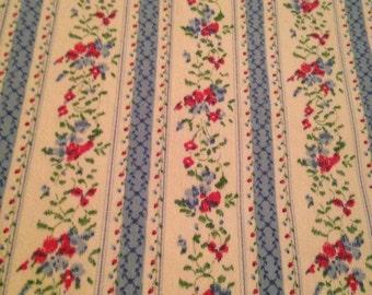 Sweet Vintage 1950s Floral Stripe Fabric - 2 1/8 Yards - Fabric Yardage / Fabric Yardage / Cotton Fabric/ 1950s Fabric / Blue Pink