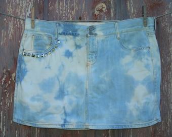 Misses Size 14 Bleached and Studded Denim Mini Skirt OOAK