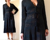 Vintage 60s Tender is the Night Black Micro Knit Sweater Dress (size small, medium)
