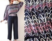 Vintage 70s 80s Sequined Dolman Sleeve Sweater