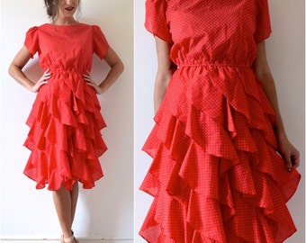 Vintage 70s 80s Red and White Polka Dot Cotton Voile Ruffled Shirt Waist Dress (size small, medium)
