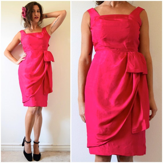 SUMMER SALE / 20% off Vintage 60s Watermelon Red Silk Sarong Wiggle Dress (size xxs, xs)