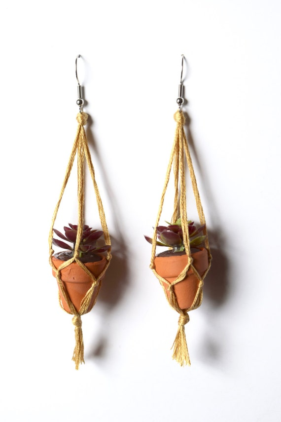 Miniature Potted Succulent Macrame Earrings