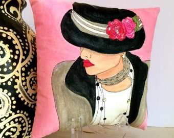 GABRIELLE FASHION PILLOW, hand painted pillow, decorative pillow, Paris, French fashion, Chanel, soft pink, grey, fashionista, flower hat