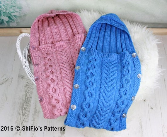 Knitting Pattern For Baby Grow Bag : KNITTING PATTERN For Baby Sleeping Bag Cocoon Papoose
