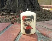 Harley Quinn Inspired 2x3 Pillar Candle