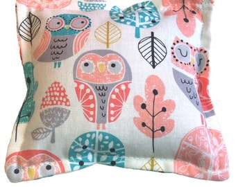 READY To SHIP - Hot Cold Packs, Microwave Heating Pad, Ice Packs, Kid's Ice Pack, Owl Fabric - FLAXSEED - Unscented