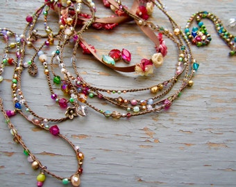 Carmelita crocheted wrap or necklace, beautiful colors