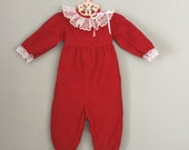 80s Red Lacy Corduroy Outfit 6-9 months