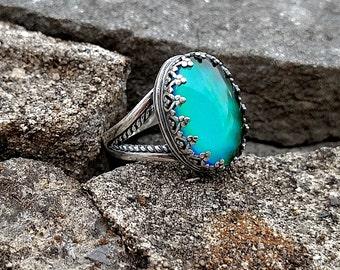 Split Crown Mood Ring   Sterling Silver