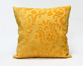Velvet Pillow Cover in warm Yellow - Handmade with Love from vintage upholstery fabric - 40x40 / 16x16