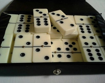 Dominoes Brass Spinners Double Six Black Ivory Plastic Japan