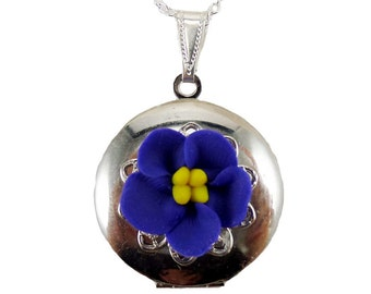Purple African Violet Locket Necklace - African Violet Jewelry, African Violet Flowers