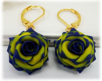 Blue Tip Yellow Rose Petal Earrings