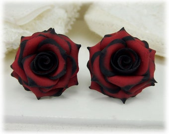 Black Tip Red Rose Earrings Stud or Clip On