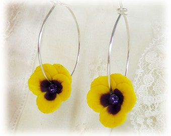 Pansy Hoop Earrings - Flower Hoop Earrings, Pansy Jewelry