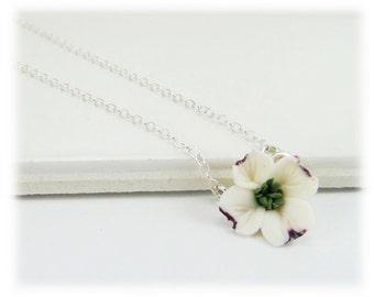 Tiny Dogwood Necklace - Dogwood Jewelry, White Dogwood Charm Necklace