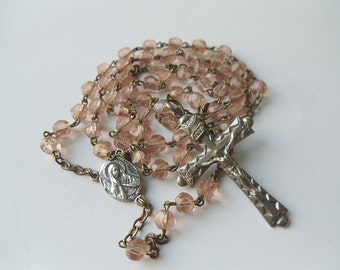 Vintage Pink Glass Bead Rosary, Faceted Glass Beads