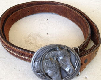 Vintage Horse Belt Buckle and Bolo//Set// matching// Siskiyou//