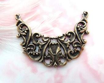 CLOSEOUT SALE Antique Brass Edwardian Filigree Swag Stampings - Jewelry Ornament Findings ~ Brass Stamping (FA-6015)