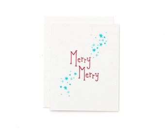 Merry Merry Christmas Card / Holiday Card / Red and Teal / Retro Card / Hand Pulled Print / Silkscreen Card / Retro Holiday Card
