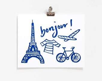 Bonjour Art Print / 8x10 / French Illustration / Eiffel Tower / French Style / Bicycle Art / Art for Kids Rooms