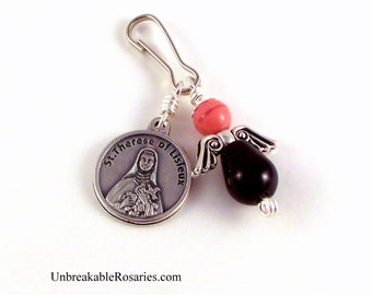 St Therese Angel Charm Black Onyx w Pink Czech Glass by Unbreakable Rosaries