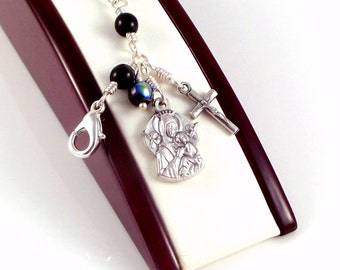 Rosary Bracelet Our Lady of Perpetual Help Virgin Mary Black AB Czech Glass by Unbreakable Rosaries