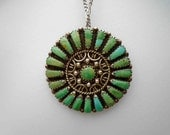 Vintage Sixties Zuni Turquoise Needle Point Round Pin / Pendant Necklace on Long Silver Chain / Signed American Indian MC / Mid Century