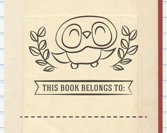 Owl Book Stamp, Bird Book Stamp, This Book Belongs to Stamp