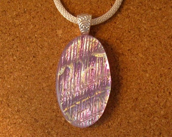 Dichroic Glass Pendant - Fused Glass Pendant - Dichroic Jewelry - Dichroic Necklace - Fused Glass Jewelry - Pink Dichroic Pendant
