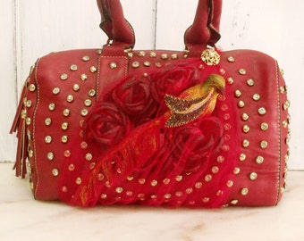 Red feathered Bird rhinestones handbag