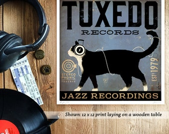 Tuxedo Cat Records album inspired artwork original graphic illustration signed archival artists print giclee by Stephen Fowler