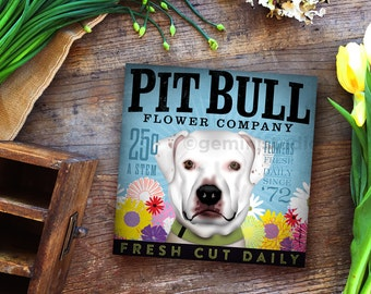 Pit bull dog Terrier Flower Company art on gallery wrapped canvas by stephen fowler