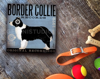 Border collie dog records album recording Company music graphic art on canvas panel by stephen fowler Pick A Size